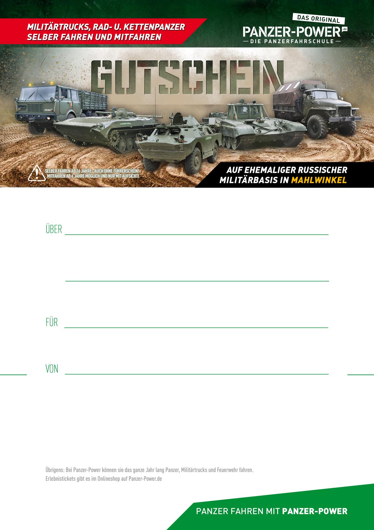 Gutscheinvorlage - PANZER-POWER | Die Panzerfahrschule